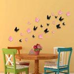 3D Vlinders Roze Zwart (1)